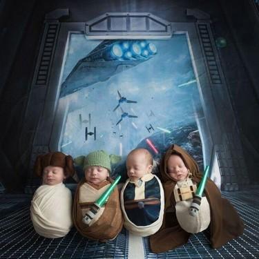 ¡Que la fuerza te acompañe! Preciosas fotos de cuatrillizos recién nacidos disfrazados de Star Wars