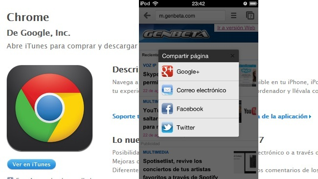 Chrome para iOS incorpora compartir en Twitter, Facebook y Google+