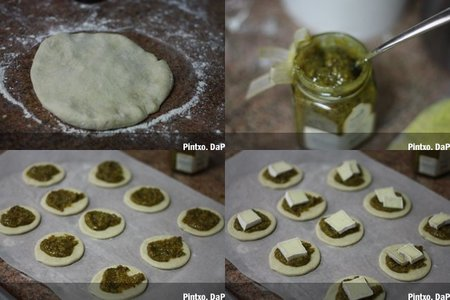 Receta de mini pizzas de pistachos y queso brie. Pasos