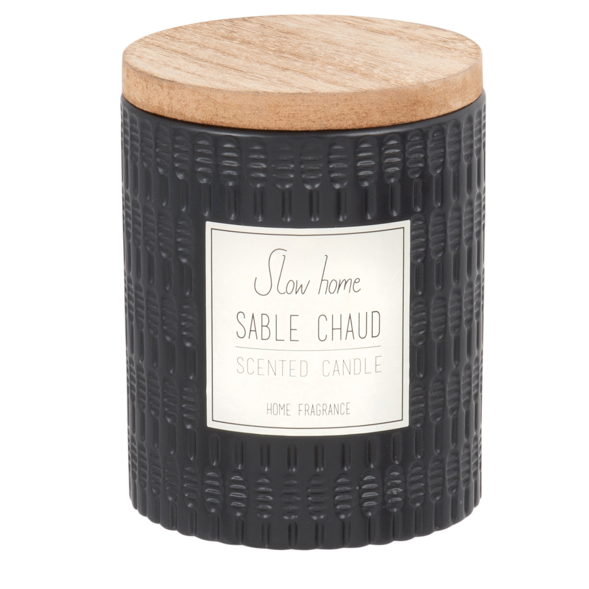 Vela perfumada en tarro de cerámica amartillada negra
