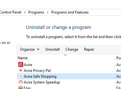 Uninstall Avira Safe Shopping Or Avira Fix Chrome