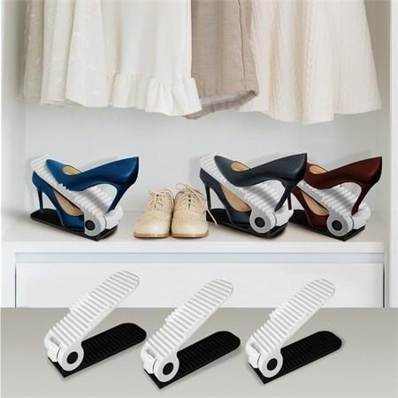 Organizador De Zapatos Ajustable Plastico Estante De Calzado Rack Ahorrador De Espacio Blanco Juego De 10