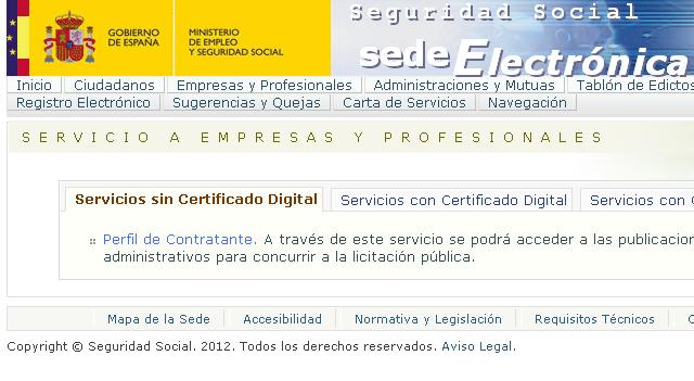 Sede electrónica de la Seguridad Social