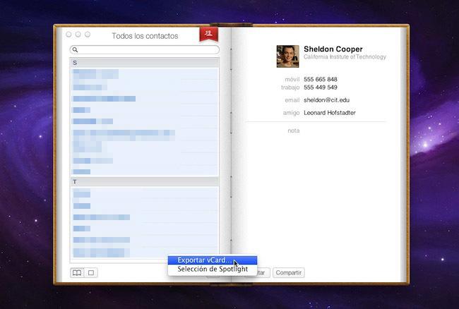 Exportar vCard en Agenda de OS X