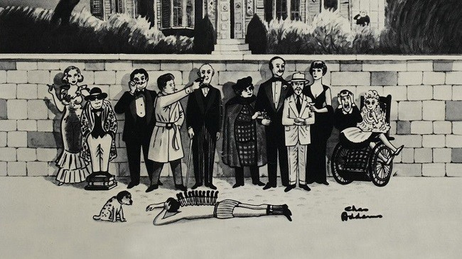 Imagen con el cartel de 'Un cadáver a los postres'