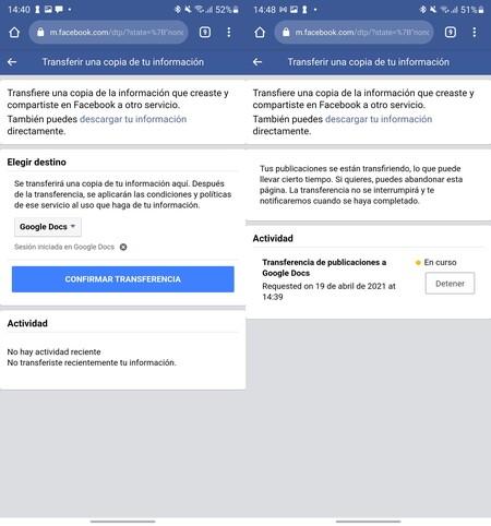 Facebook Transferir Contenido 2