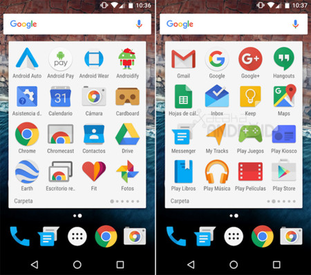 Carpeta Google Now Launcher