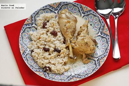 Receta de pollo al estragón con arroz y pasas