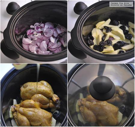 Paso a paso picantones al curry con manzana, ciruelas y miel