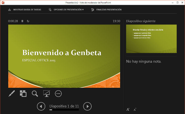 PowerPoint 2013, Vista Moderador
