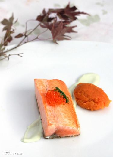 Lingote de salmón con boniato y mayonesa de wasabi. Receta de Navidad