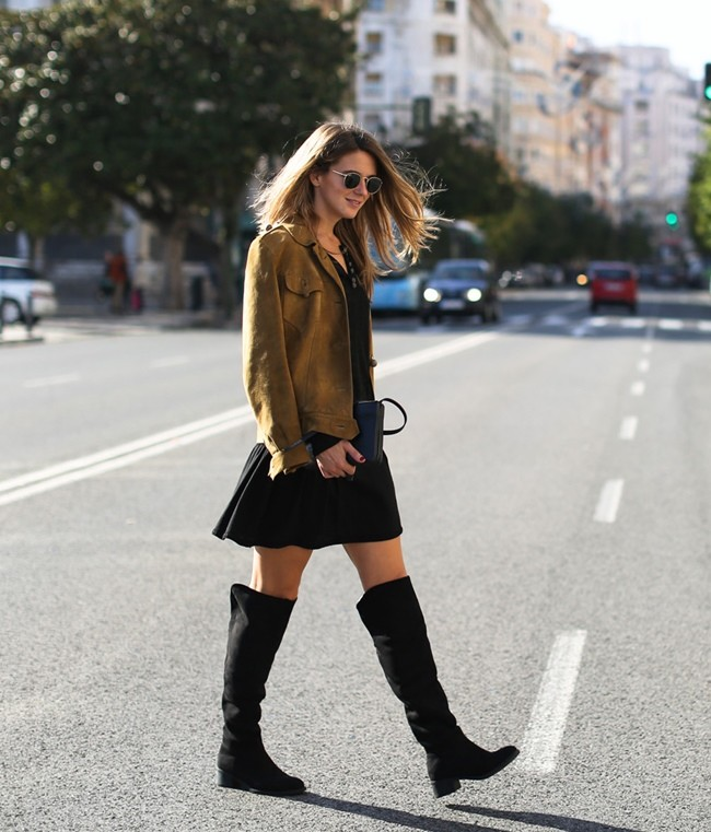 Clochet Streetstyle Suede Ankle High Boots Boho Minidress 4