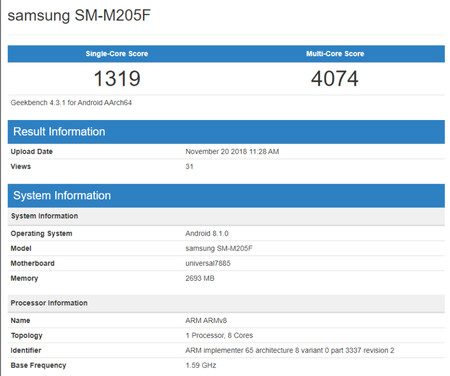 Geekbench Samsung Galaxy M2
