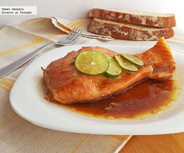 Salmón glaseado con soya y maple. Receta