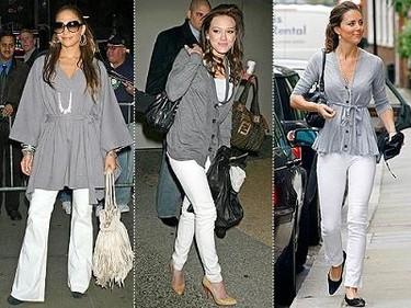 Se lleva: pantalones blancos y top gris