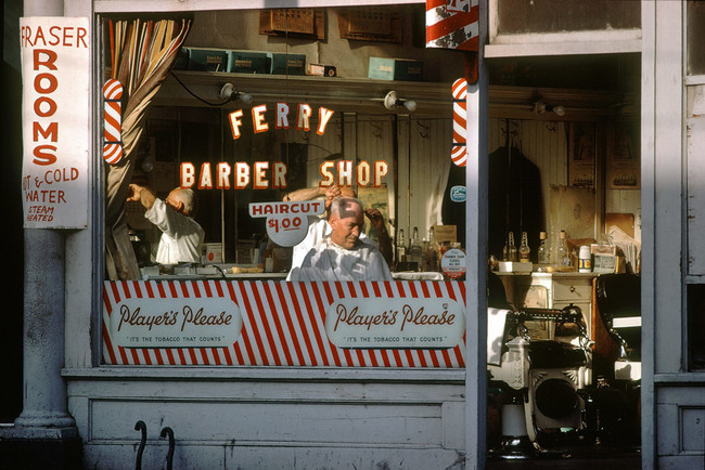 Fred Herzog. Ferry Barber Shop, 1959
