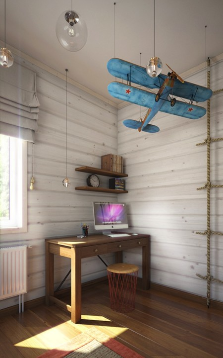 04 The Study Nook Boasts Of A Small Simple Desk Open Shelving And A Vintage Blue Plane Hanging Over It