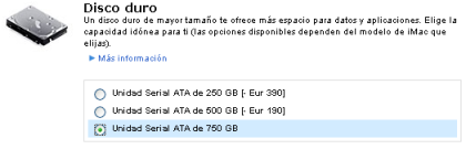 Apple ofrece discos duros de 750GB