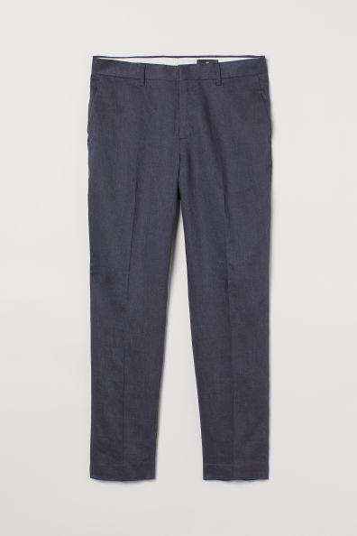 Pantalón azul en lino corte slim fit