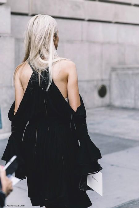 New York Fashion Week Spring Summer 2016 Street Style Black Dress Off The Shoulders 790x1185