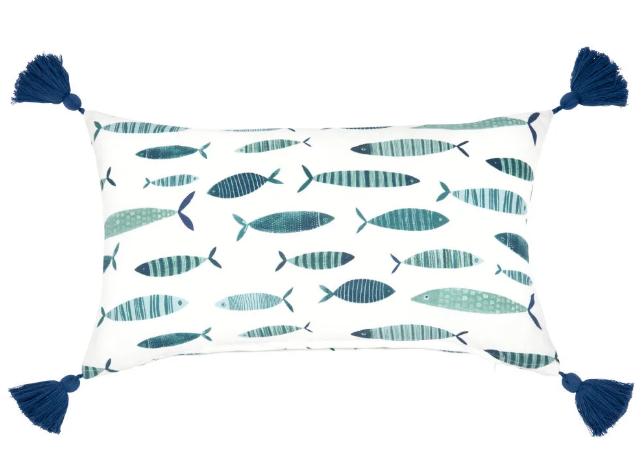 Funda de cojín de algodón con motivo de peces azules