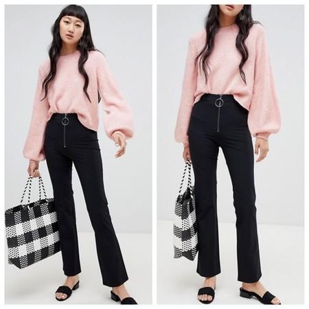 Pantalones Campana Negro