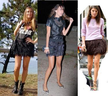 Como llevar una falda de plumas