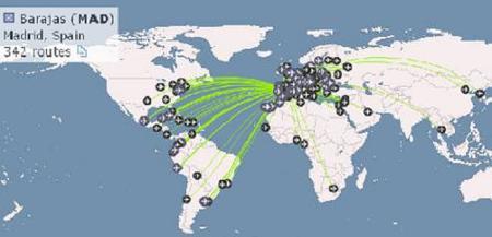 OpenFlights, mapa mundial de los vuelos comerciales