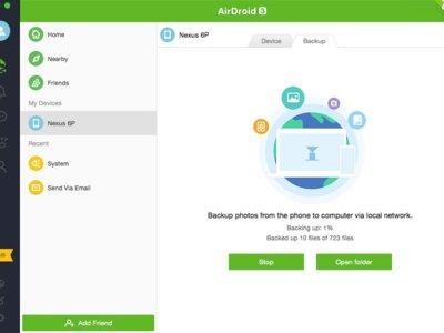 AirDroid añade respaldo automático de fotos en redes locales