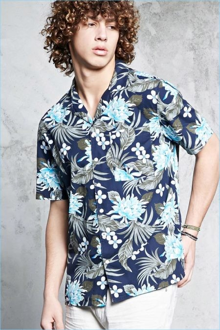 Forever 21 Men Slim Fit Hawaiian Print Shirt 450x675