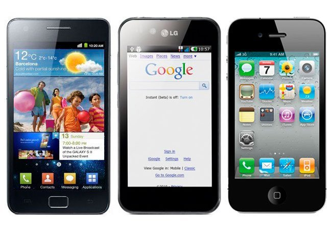 Samsung Galaxy SII, LG Black, iPhone
