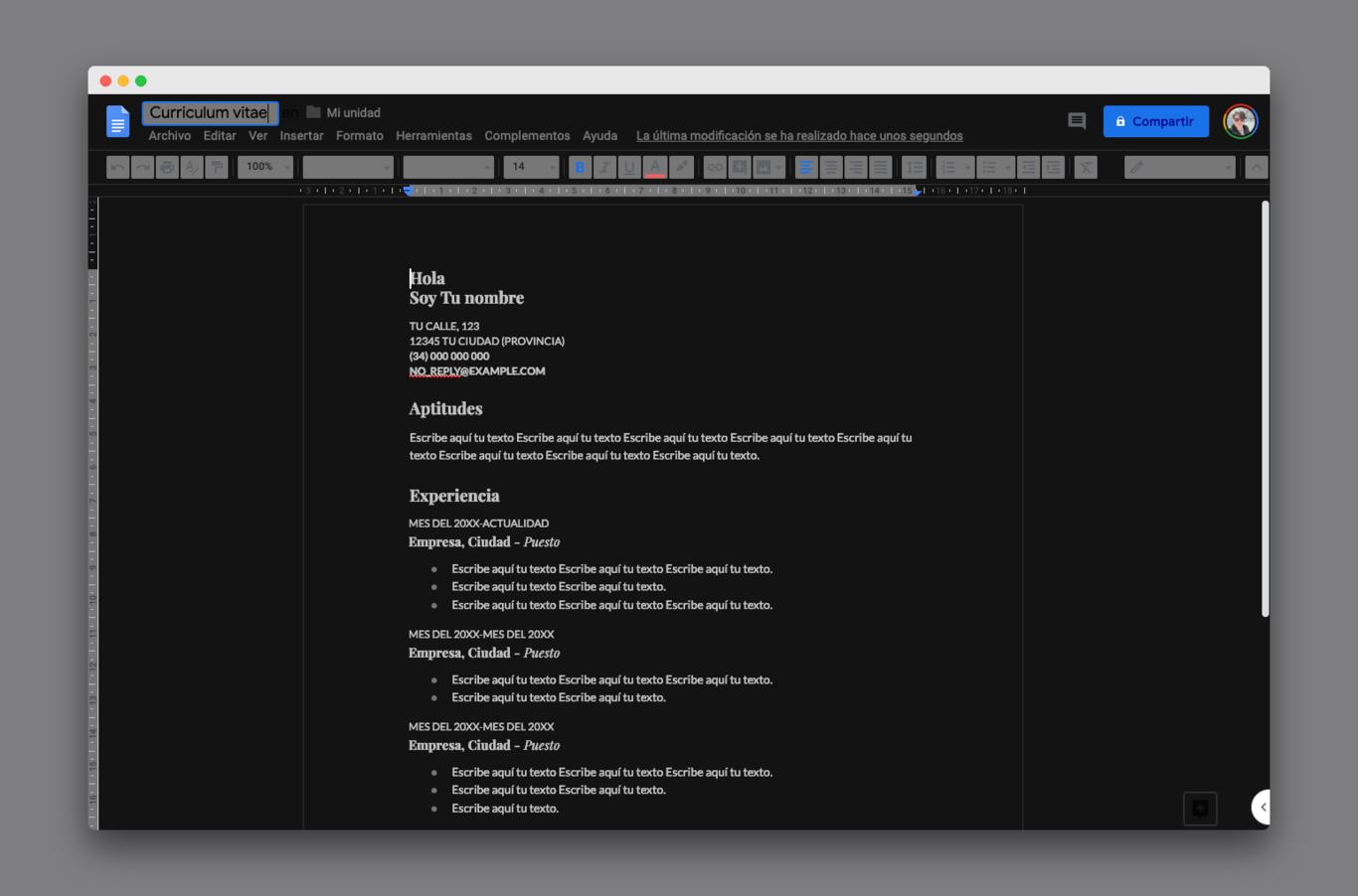 Si quieres un modo oscuro para Google Docs, esta extensión para Chrome es la solución