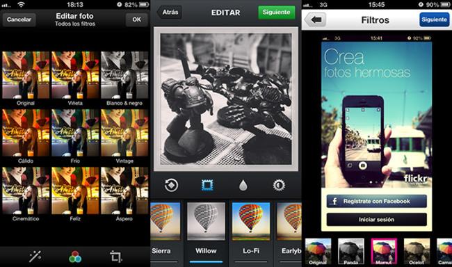 De izquierda a derecha, filtros de Twitter, Intagram y Flickr