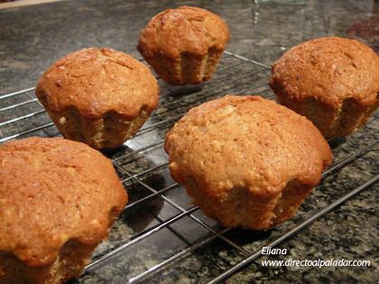 Muffins de banana y avena. Receta