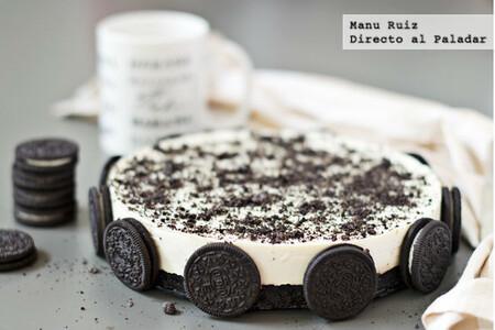 Tarta de chocolate blanco y galletas Oreo, receta fácil con Thermomix