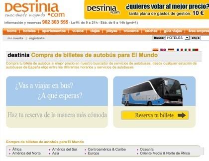 Destinia presenta un buscador de billetes de autobús