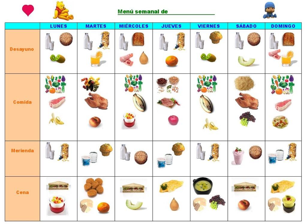 Men semanal infantil para imprimir los alimentos en dibujos - Nombres clasicos espanoles ...
