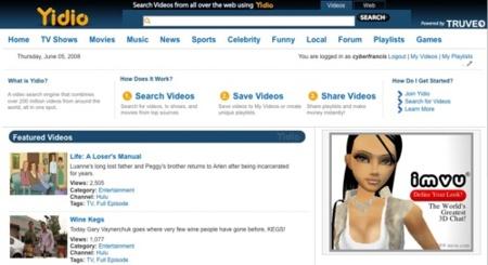 Yidio, buscador de vídeos basado en Truveo