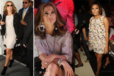 Jennifer López y Eva longoria en el desfile de Diane von Furstenberg