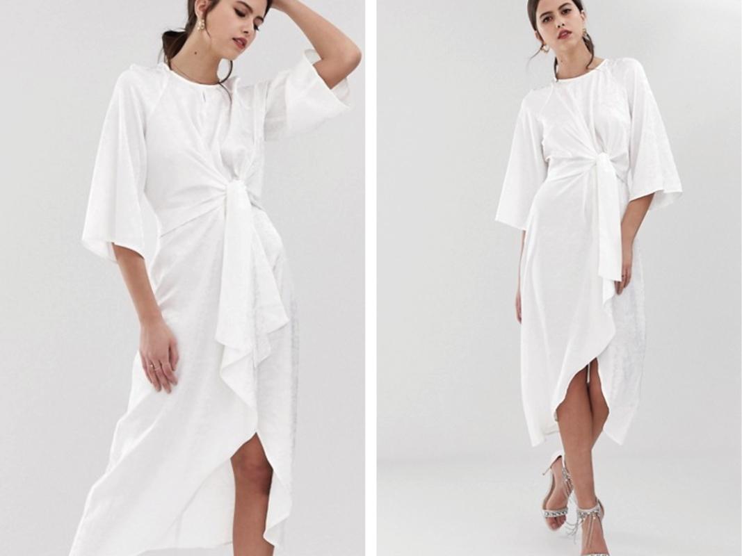 Vestido midi blanco con estampado floral de satén con detalle cruzado Y.A.S