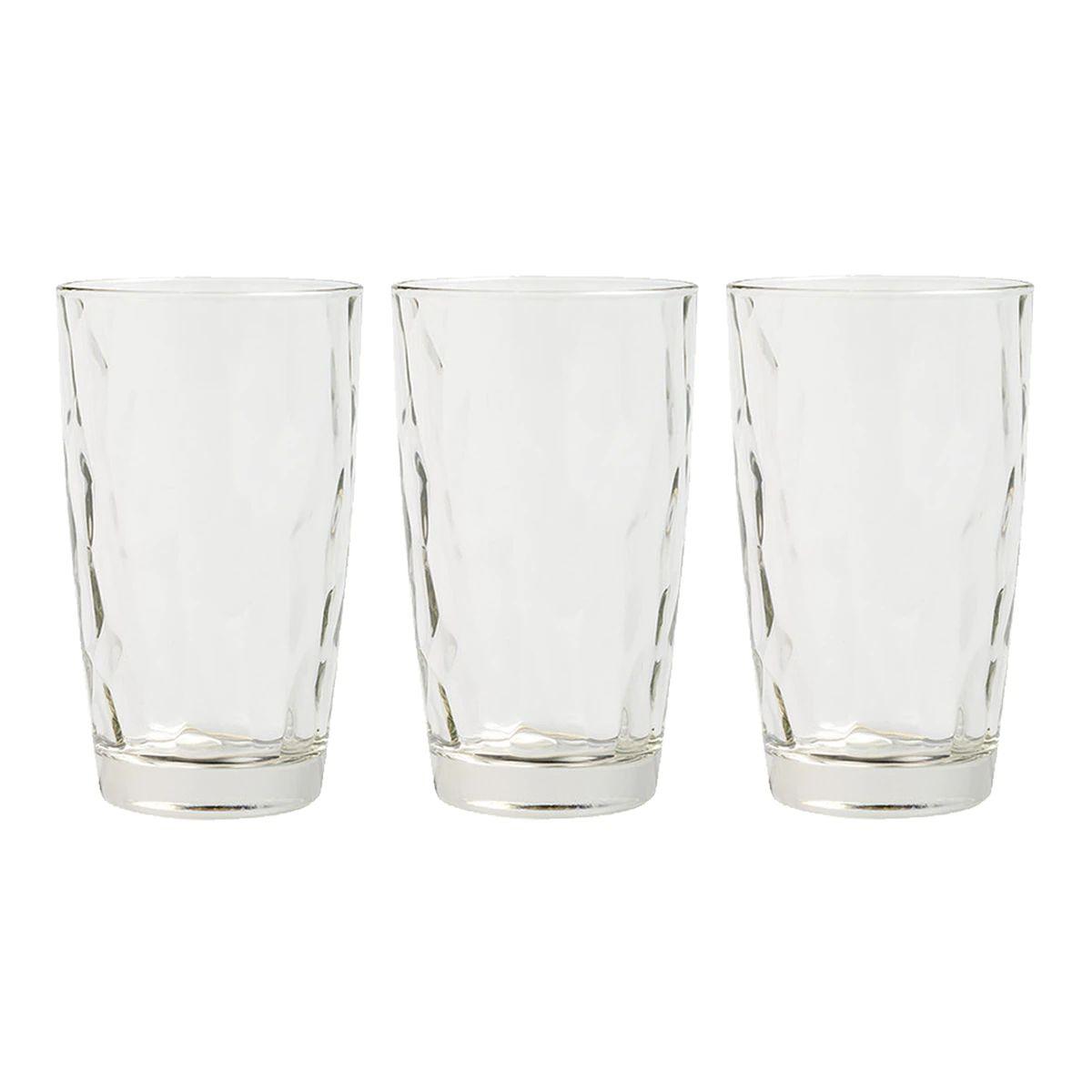 Juego de 3 vasos altos de vidrio facetado, son de alta calidad y diseño italiano. Con base sólida, elegantes y sencillos para tu mesa de todos los días o para los grandes eventos.