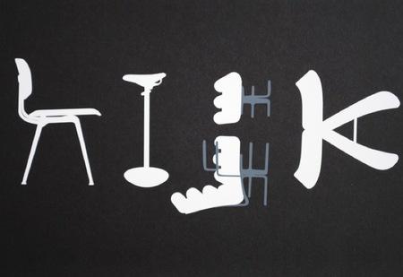 El abecedario en sillas, una ilustración de Tim Fishlock