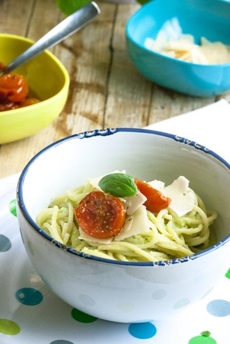 Espaguetis Con Salsa De Aguacate Y Albahaca 2 1