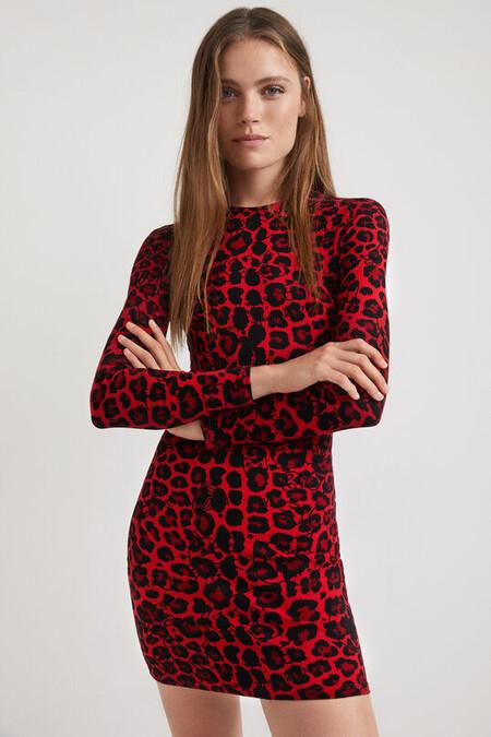Vestido corto slim leopardo