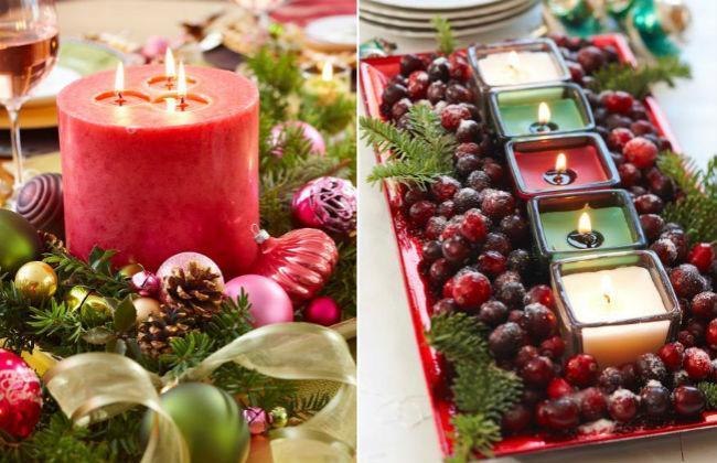 Las 13 mejores ideas con plantas para decorar la mesa en for Centros navidenos con velas