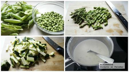 Pasta con verduras de primavera y salsa gorgonzola