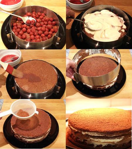 montaje de la tarta selva negra