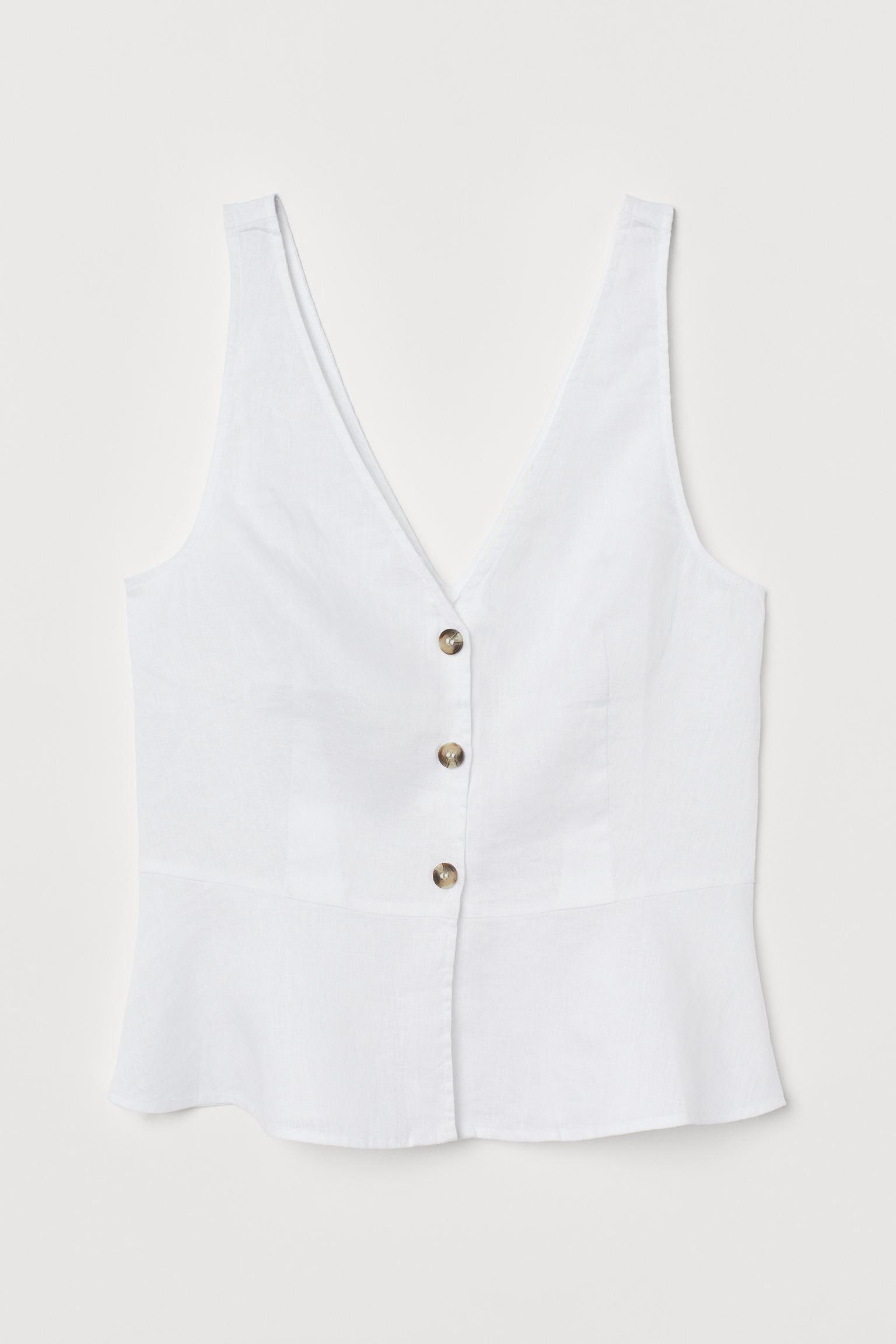 Blusa de lino con escote en V