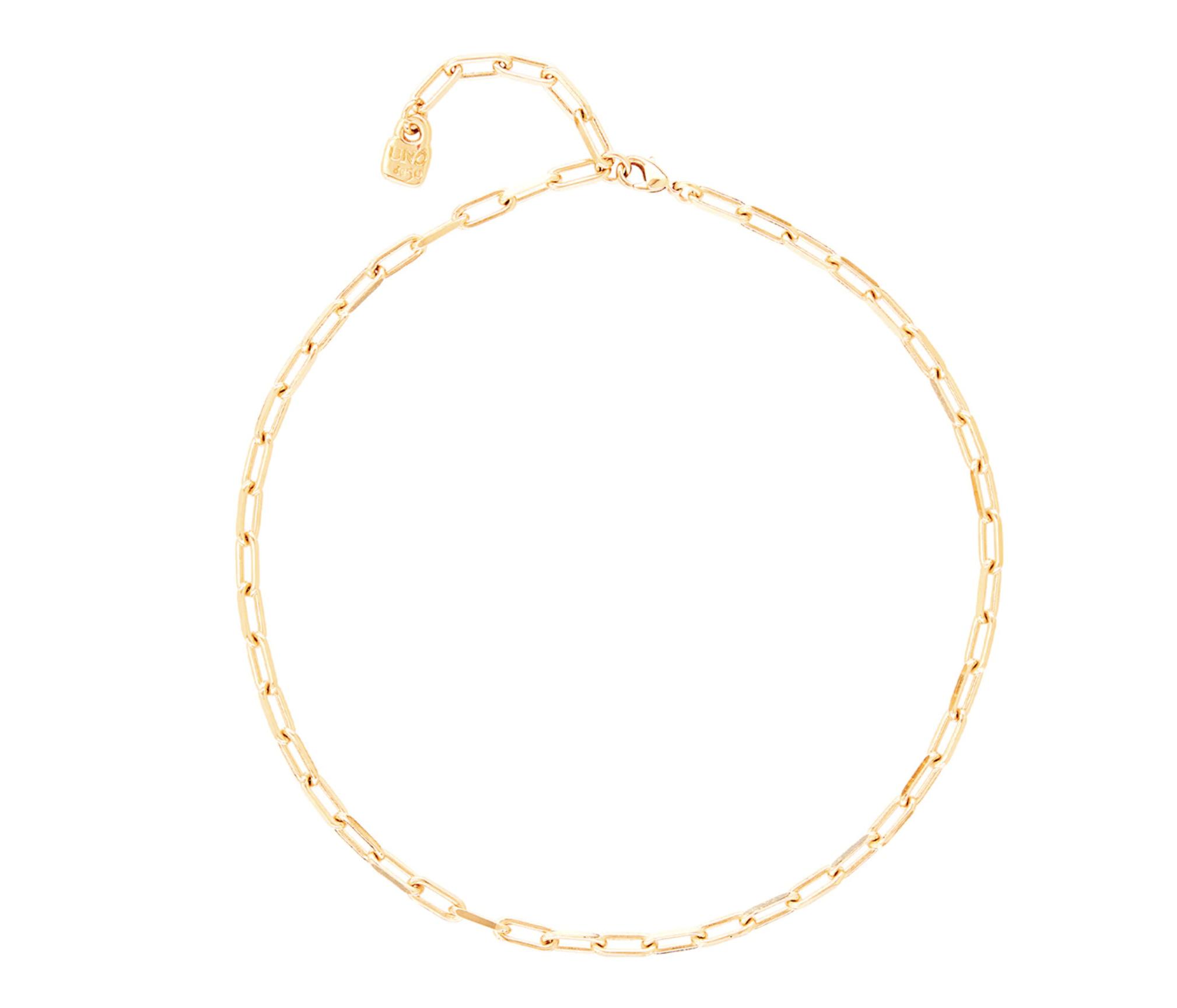 Collar Uno de 50 de cadena corta de metales bañados en oro