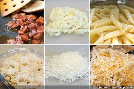 Macarrones al queso con chorizo - elaboración